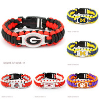Wholesale Outdoor Camping Plates - School Football Team Paracord Survival Friendship Outdoor Camping Sports Bracelets For Men & Women Black Red Cord Custom