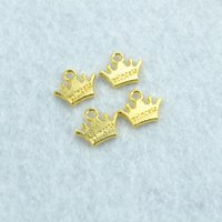 Wholesale Gold Plated Jewelry Making Supplies - Wholesale- 50pcs Gold plated crown Charms Necklace Pendant Bracelet Jewelry Making Handmade Crafts diy Supplies 13*10mm 1556