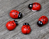 Wholesale 3d Wooden Animal Stickers - Wooden Ladybird Ladybug Sticker Children Kids Painted Adhesive Back DIY Craft Home Party Holiday Decoration