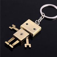 Wholesale robot keychain metal - Creatative Adjustable Metal Robot Movable Pendant Key Ring Car Keychain Keyring For Women Men Best Gift Party Souvenirs ZA2944