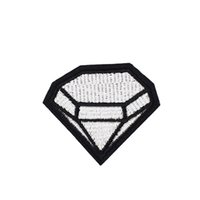Wholesale large iron patches - 10PCS Large Diamond Badge Patches for Clothing Bags Iron on Transfer Applique Patch for Jacket Jeans DIY Sew on Embroidery Badge
