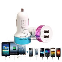 Wholesale colorful car dual charger online - Dual USB Port Metal Car Charger A Colorful Micro USB Car Plug USB Adapter For Iphone Iphone Plus