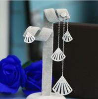 Wholesale Earring Back 925 - Europe long section asymmetric tassel earrings crystal from the crystal from Swarovski 925 silver temperament fan-shaped allergy