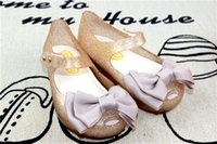 Wholesale Ballet Flats Toddlers - 2007 New Summer Mini Melissa Shoes Children Bow Design Sandals Toddler Girls Ballet Flat Sandals 15-18cm Gold Pink Red 6