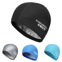 водонепроницаемая ткань оптовых-Оптовая продажа-шапочка для плавания эластичный водонепроницаемый PU ткань защищает уши длинные волосы спорт бассейн шляпа для мужчин женщин взрослых