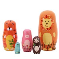 Wholesale Wooden Matryoshka Doll - 5pcs Wooden Russian Nesting Dolls Braid Cartoon Traditional Matryoshka Dolls