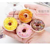 Wholesale Squishy Buns Mobile Charm - Squishies wholesale 50pcs kawaii buns donut squishy for mobile Phone straps charm bag pendants kawaii squishies lot free shipping