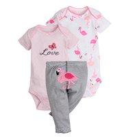 ingrosso la parte superiore a strisce di estate della neonata-Set di vestiti da ragazza di Flamingo 2 pagliaccetti + 1 pantaloni Onesies neonato neonato Abiti infantili tuta a righe Summer Princess Cotton Top
