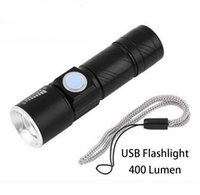 Lanterna USB Super Bright Q5 400LM USB Handy LED Torch Light Iluminação impermeável recarregável Zoomable Light Lamp for Hunting Camping