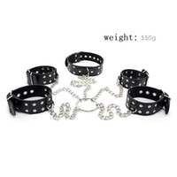 Wholesale Stainless Steel Cross Bondage - 1Set Stainless Steel Crossing Pu Leather Handcuffs Ankle Cuffs Connect Slave Bdsm Collar Sex Toy Bondage Set Sextoys For Adults