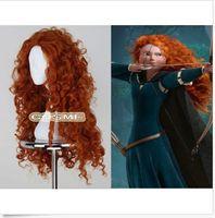Wholesale Brave Cosplay - ePacket free shipping Women Fashion Long Heat Resistant Orange Wig Brave Merida Cosplay Anime Full Wig