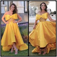 Wholesale Strapless Satin Bowknot Ivory - 2018 Yellow Prom Dresses With Bowknot Elegant Sweetheart High Low Style Dubai Evening Wear Party Dress Custom Cheap Vestidos De Gala