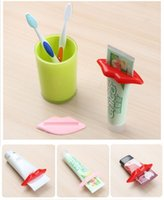 Wholesale Toothpastes Tube Holder - Sexy Hot Lip Kiss Bathroom Tube Dispenser Toothpaste Cream Squeezer Home Tube Rolling Holder Squeezer WA1456