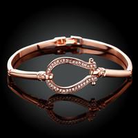Wholesale Wholesale Horse Shoe Jewelry - Wholesale-Good Quality 2016 New Fashion Jewelry 18K Gold Plated Bracelets bangles Horse Shoe Bangle water drop Bracelet free shipping