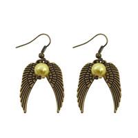 Wholesale Acrylic Bead Chandelier - Wholesale Movie Jewelry Harry Wings Earrings Potter The Deathly Hallows Drop Earrings For Women Gold Beads Wings Earrings
