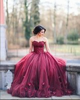 Wholesale Dress Embellishments - Burgundy Ball Gown Prom Dresses Sweetheart Neck Full Length Lace Tulle Petal Embellishment Evening Gowns 2017 Sweet 16 Dresses