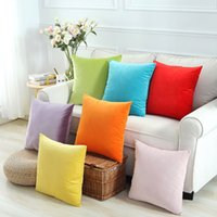 Wholesale Solid Square Pillow - new velvet cushion cover 45cm 55cm chair chaise throw pillow case bright solid colors almofada modern yellow black cojines