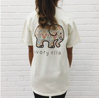 Wholesale Women s Summer Casual Fashion Ivory Ella Elephant Pattern Print Classic Soft Tops Cotton Tee O neck Short Sleeve Top Loose Harajuku T shirt
