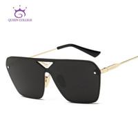 Wholesale Glass Panels Design - Wholesale-Queen College Men's Sunglasses Unisex Style Flat Panel Conjoined Lens Brand Design Alloy Frame Sun Glasses Oculos De Sol QC0324