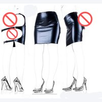Wholesale Mini Skirt Sex - Hot Faux Leather Slave Spanking Skirt Open Hip Bondage Fetish Lingerie Erotic Sexy Lace Up Mini Dress Adult Sex Products Sex Toys