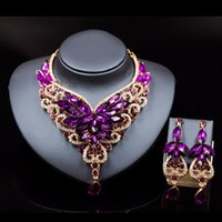 Wholesale Palace Crystals - Lan Palace Crystal Statement Necklace Earings For Women Nigerian Wedding African Jewelry Kolye Vintage Jewelry Flower