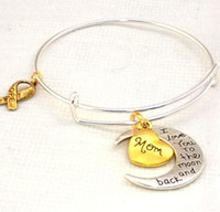 Wholesale I Love Mom Dad - I Love You To The Moon And Back Bracelets Gold Aunt Mom SON DAD SISTER DAUGHTER GRANDMA Charm Bangle Cuff Wristband Jewelry Gift