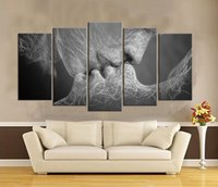 Wholesale Kissing Paintings - Kiss of The Love Frameless Paintings 5pcs Printd on Canvas Arts modern Home Wall Art HD Print Painting Picture