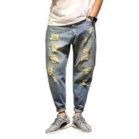 Wholesale Hot Cotton Brand Capris - Hot Sell Brand Mens Jeans Cotton Fashion Design Denim Joggers For Men Distressed Jeans Pants With Holes