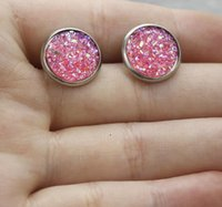 Wholesale Red Cabochon Earrings - Mermaid Scales Stud Earrings Hot Style 8mm 12mm stainless steel Base Glass Cabochon Fine Jewelry For Women Party Gift