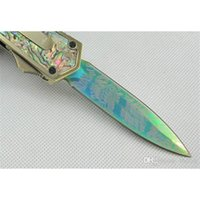 Wholesale Microtech Blades - Microtech Scarab Abalone Shell Knives Double Action Hunting Pocket Knife Survival Knives Tactical Knife 440C 57HRC Double Rainbow Edge