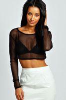 Wholesale Sexy Women Tees Sale - Wholesale- hot sale 2016 NEW Women Sexy Black Mesh Pierced Long Sleeve Crop Top T Shirt mday ladies fashion Tee