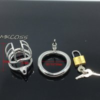 Wholesale Bdsm Bird Cage - Stainless Steel Super Small Male Chastity device Adult Cock Cage With Curve Cock Ring BDSM SexToys Bondage Chastity belt prison bird MKC055