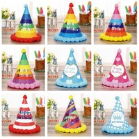 Wholesale cakes order - New arrival Colorful Series Child Birthday Baby Adult Adult Party Blush Birthday Hat Party Hat PM001 Party Hats mix order as your needs