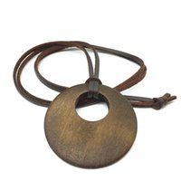 Wholesale Wood Fashion Accessory - Wholesale-Vintage New Handmade Fashion Collar Vintage Long PU Leathe Wood Pendants Necklaces for Women Men Jewelry Accessory