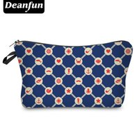 Wholesale hot journey - Wholesale- Deanfun Cosmetic Bags 3D Printing Blue Zipper Polyester Journey Necessary Organizer For Women Makeup Vintage 2017 Hot Sale 50781
