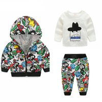 Wholesale Kids Spandex Pants - Newest Spring Baby Boys Girls Clothing sets Cartoon Casual Kids Hooded Coat+ t-shirt+Pants 3Pcs Newborn Clothes Suits