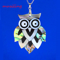Wholesale Green Turtle Pendants - musiling Jewelry Owl Turtles Pendants Abalone Shell Splicing Pendant Necklace Chain Accessories Silver Plated European Fashion Jewelry