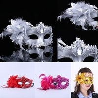 Wholesale flowers made women face resale online - Venetian Half Face Mask For Women Halloween Masquerade Mask with flower princess Braid Mask party Masks hand made