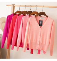 Wholesale womens orange sweater - Summer Cardigan Women 2017 Fashion Candy Color V-neck Long Sleeve Single Breasted Thin Knitted Womens Sweaters Oversized