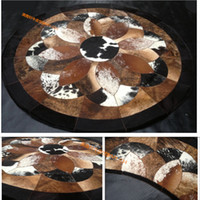 Wholesale 2018 piece natural color genuine cow leather cowhide fur carpet for room