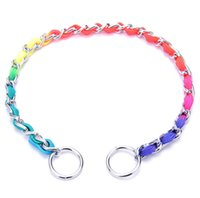 Wholesale Colorful Metal Collars - Colorful Metal Dog Training Collar Chain Good Quality Durable Dog Slip Chain Flexible For Small Middle Dogs 5PCS LOT
