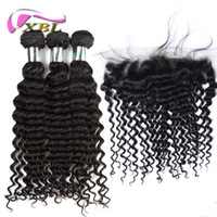 XBL Deep Wave Dentelle Frontal Malaisie Vierge Cheveux Lace Frontal Dans Bundles Body Wave / Loose Wave / Straight / Curly