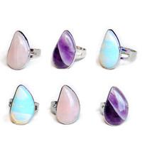 Wholesale Chakra Gemstone Set - Fashion Natural Crystal Tear Waterdrop Stone Ring Quartz Healing Chakra Gemstone Rings Bohemia Opening Jewelry for Women