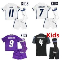 Wholesale Cheap Solid Real - Top quality Equipaciones de futbol kids Camiseta de futbol 16 17 kid cheap real madrid Jersey shirt+shorts+socks 2016 2017