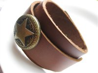 Wholesale Wholesale Adjustable Leather Bracelets Buckle - Simple Brown Wide Genuine Leather Men Bracelets With Pentagram Rivet Charm Belt Hole Buckle Adjustable
