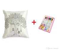2017 Nouveau bricolage Charmeuse Peint à la main Graffiti Throw Pillow Case Décorer Coussin Covers Square + brush