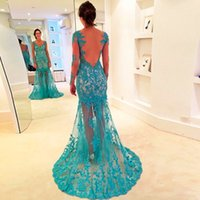Wholesale Mint Mermaid Tulle Prom Dress - See Through Mermaid Prom Dresses with Long Sleeve 2017 Sexy Illusions Back Mint Prom Gowns Sheer Neck Lace Appliques Evening Party Gowns