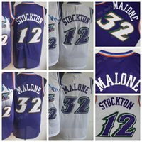 Wholesale Throwback Uniforms - 2017 Basketball 12 John Stockton Jerseys Men Throwback Purple White Color 32 Karl Malone Jersey Vintage Uniforms All Stitched High Quality