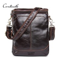 Wholesale Travelling Leather Bags For Men - CONTACT'S HOT!! 2017 Genuine Leather Bags Men High Quality Messenger Bags Small Travel Dark Brown Crossbody Shoulder Bag For Men