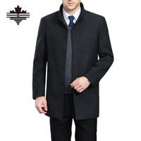Wholesale Mens Winter Snow Coats - Wholesale- Autumn And Winter Overcoat Men Long Section Mens Wool Coat Casual Stand Collar Men's Woolen Coat Wool & Blends Warm Snow Coats